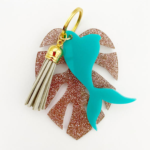 Monsterra & Mermaid Keychain - Lowcountry Design Studio