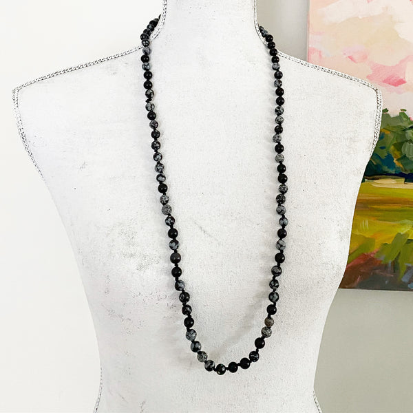 Knotted Snowflake Obsidian Gemstone Necklace