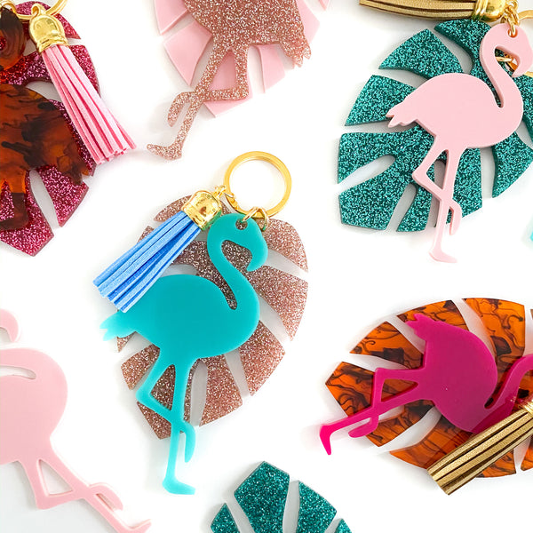 Custom Flamingo & Monsterra Keychain - Lowcountry Design Studio
