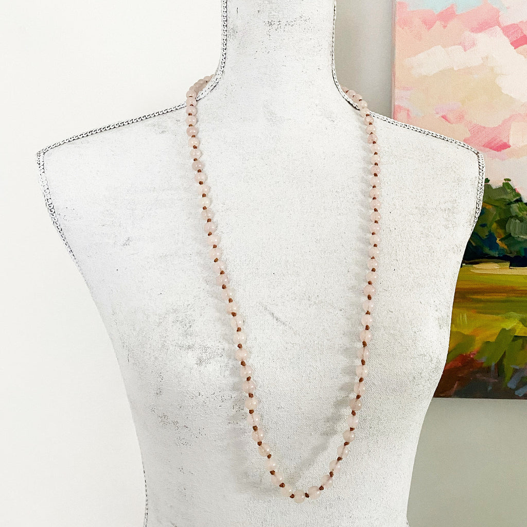 Knotted Rose Quartz Gemstone Necklace