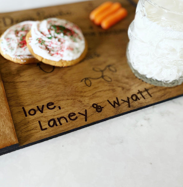 Handwritten Names on Santa Tray