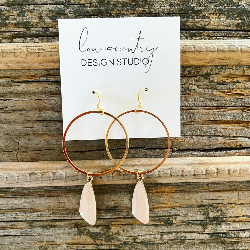 Blush & Gold Dangly Hoops
