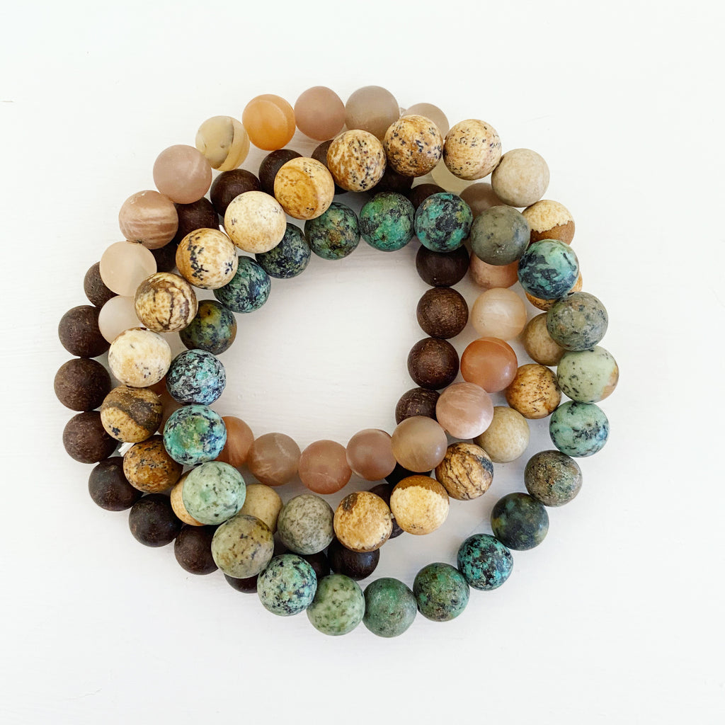 Gemstone & Wood Bracelet Set