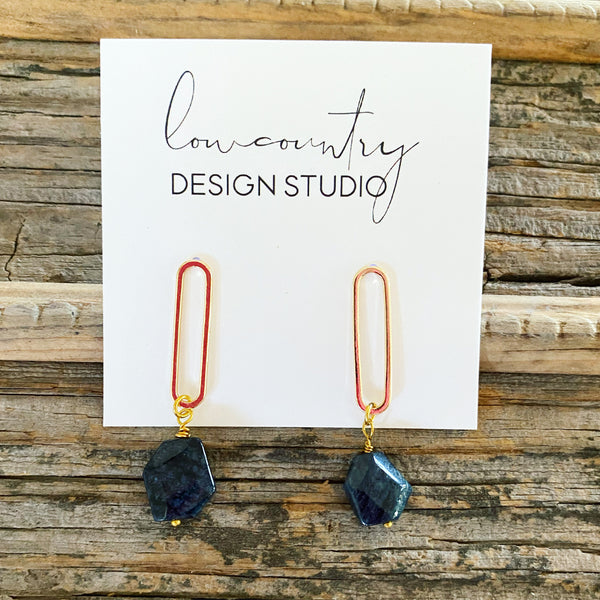 Shimmery Navy & Gold Earrings