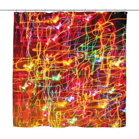 Shower Curtain - Crazy Neon Lights