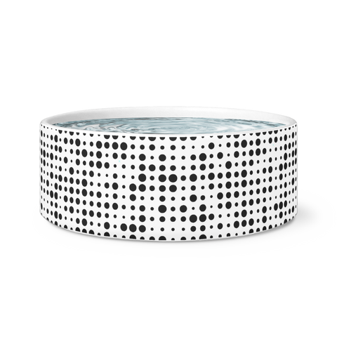 Dog Bowl - Black Polka Dots