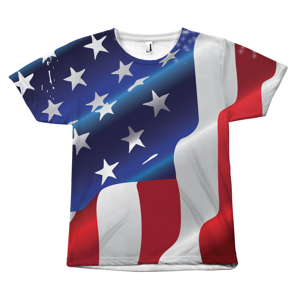 USA Flag All Over Print front - slightly distressed T-shirt design