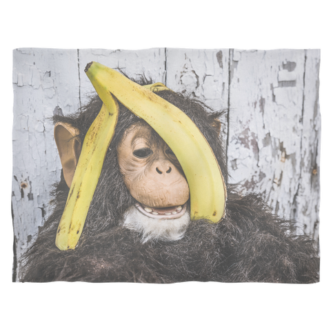 Small Fleece Blanket - Monkey Banana Head