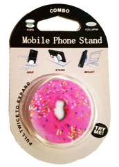 mobile phone stand - donut print - phone grip