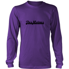 Des Moines - Black - Long Sleeve T-shirt Tee