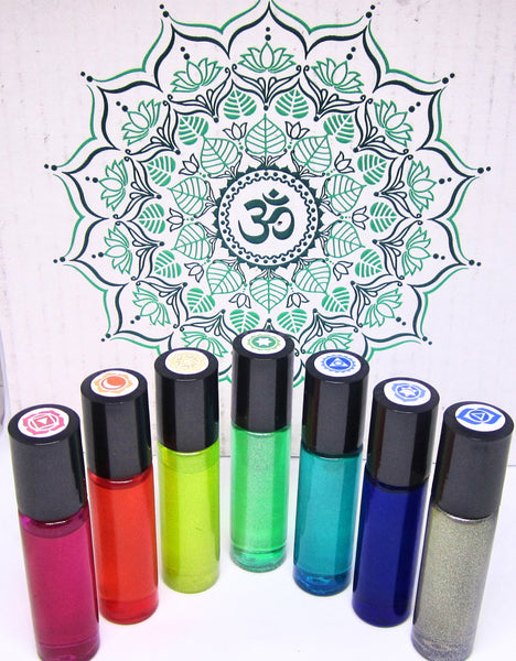 Set of 7 Chakra Balancing Custom Essential Oil Blends - Reiki & Crystal Infused