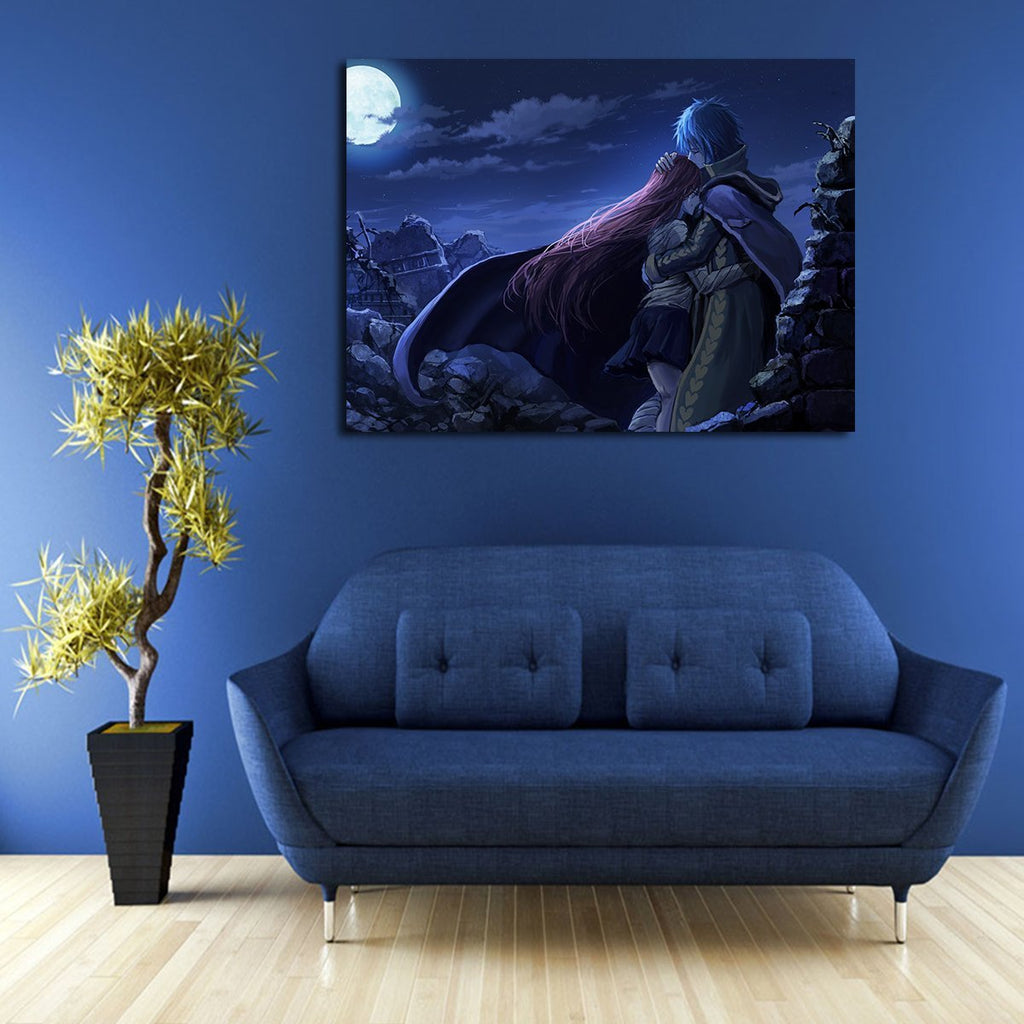 1 Panel Jellal Fernandes And Erza Scarlet In The Night Wall Art Canvas