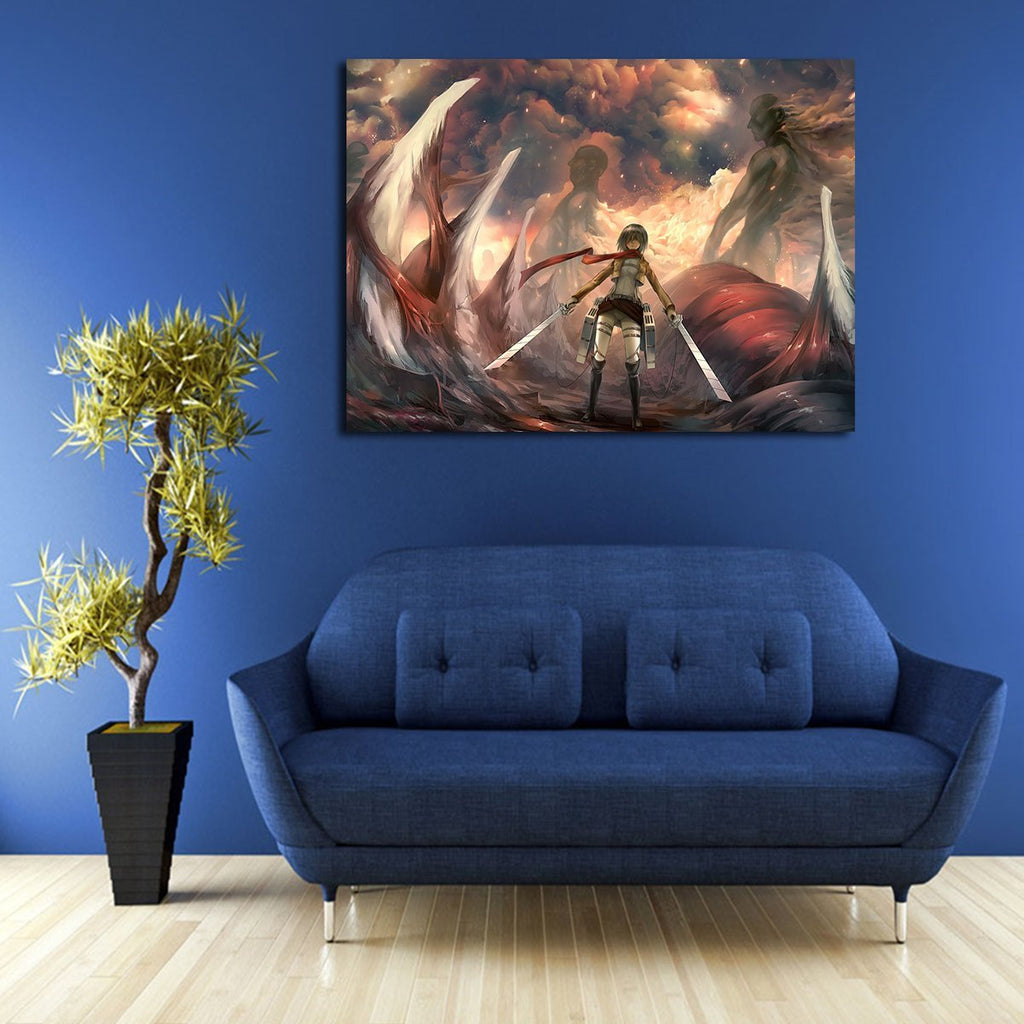 1 Panel Mikasa Ackerman Kills Titan Wall Art Canvas