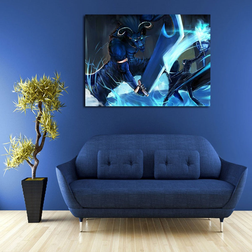 1 Panel Kirito Vs The Gleam Eyes Wall Art Canvas