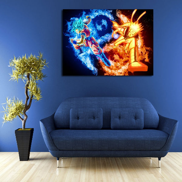 1 Panel Dragon Ball Goku & Naruto Wall Art Canvas
