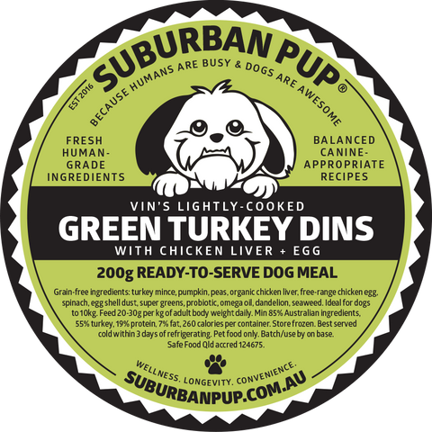 Green Turkey Dins product label
