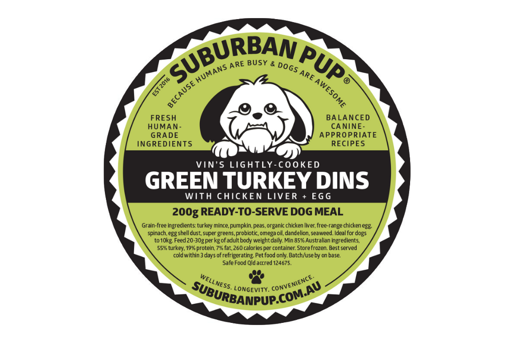 Green Turkey Dins (lightly-cooked, reduced fat/allergen)