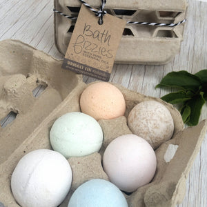 BATH FIZZIES EGG BOX - Box of 6 Assorted Essential Oil Bath Fizzies