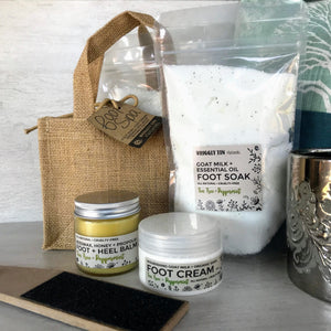 NATURAL FOOT CARE KIT - Cream, Balm, Soak + Paddle in Hessian Bag
