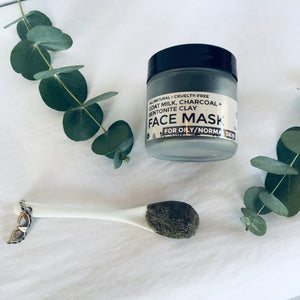 GOAT MILK, CHARCOAL + BENTONITE CLAY FACE MASK - Oily/Normal Skin
