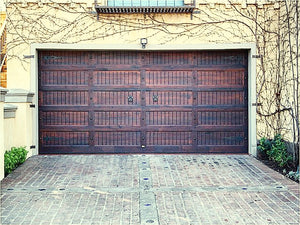 Double garage door featuring NW/AC3 mock knockers and NW/34DD 40 mm round studs