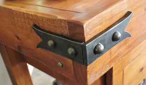 Custom NW/AC9 mock hinge used to finish off the corners of a butchers block.