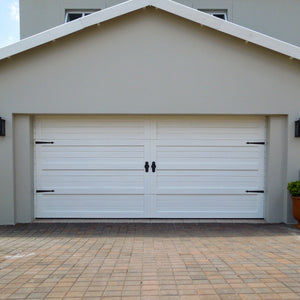 Modern garage door with NW/AC10 mock hinges and NW/AC24 mock knockers. A perfect way to give you home that modern look