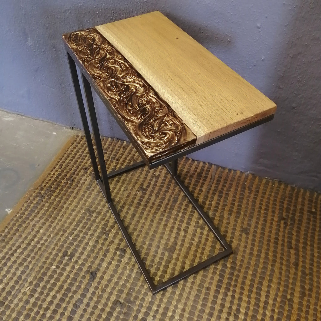 French Oak and bronze epoxy side tables