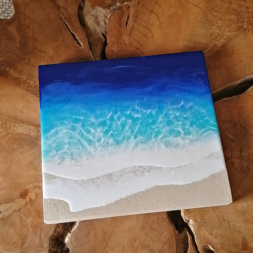 Ocean art, beach scene, epoxy, resin, wall art, waves, art, decor, interior design