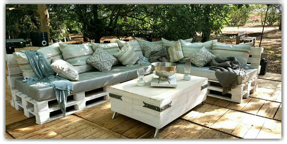 Recycled pallet wood furniture with decorative resin studs