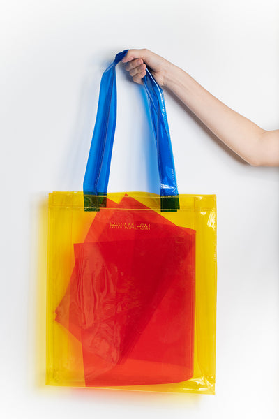 Minimalism: Yellow & Blue PVC Tote Bag