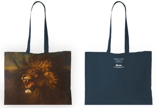 CENTURY OF LIGHT (BETWEEN WORLDS) WOUNDED LION TOTE BAG