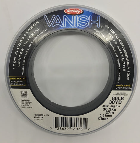 BERKLEY VANISH 100% FLUOROCARBON LEADER 27M - 100LB