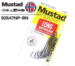MUSTAD 92647NPBLN SIZE 1 LONG BAITHOLDER HOOK PRE PACK
