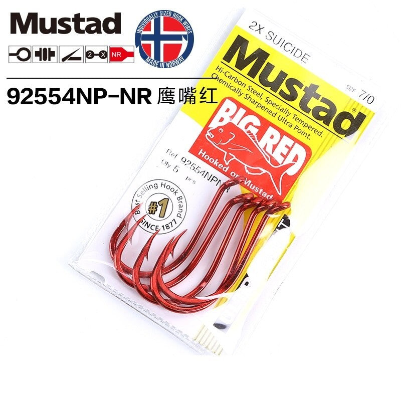 MUSTAD 92554NPNR 1/0 BIG RED HOOK PRE PACK