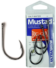 MUSTAD 10829NPBLN 1/0 BIG GUN SALT-WATER HOOK PRE PACK