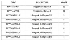 MUSTAD 7766NPNR 1/0 RED TARPON HOOK PRE PACK