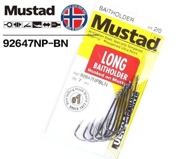 MUSTAD 92647NPBLN SIZE 6 LONG BAITHOLDER HOOK PRE PACK