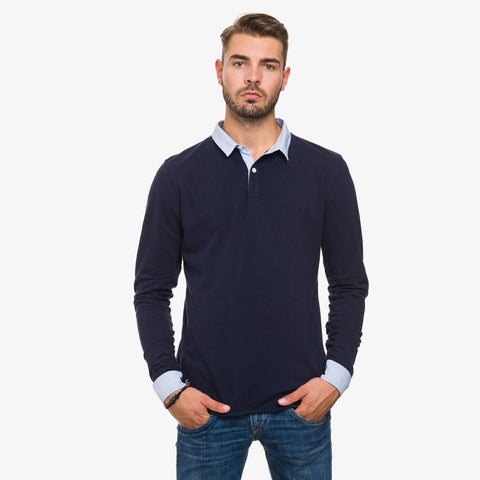 Long Sleeve Polo Shirt mit Oxford Kragen
