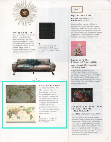 Media iluvo read about indigo world map from home decor june issue pg 47 thank you home decor singapore for sharing our dear map with your readers gumiabroncs Images