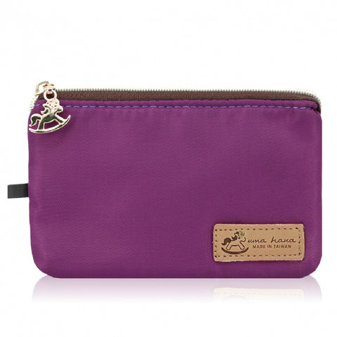 Uma hana Premium Monochrome Lanyard Card Holder Vertical Purple