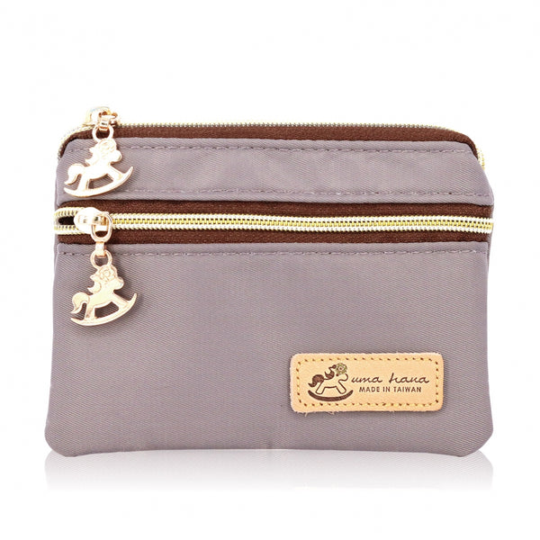 Uma hana Premium Monochrome Double Zipper Coin Pouch (S) Grey