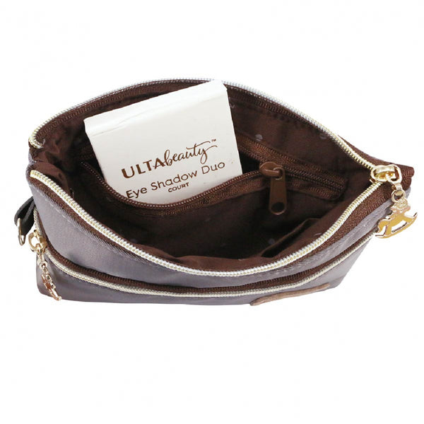 Uma hana Premium Monochrome Double Zipper Storage Pouch Black