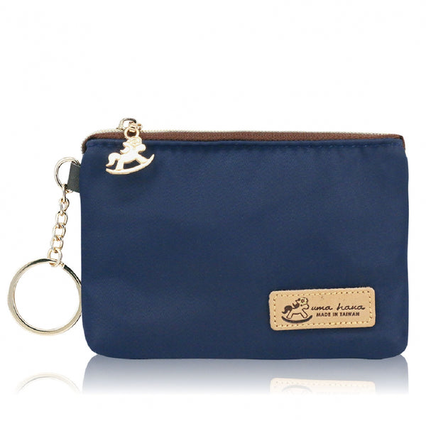 Uma hana Premium Monochrome Single Zipper Coin Pouch (S) Navy