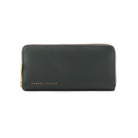 Samuel Ashley Lia Zip Around Wallet Dark Green