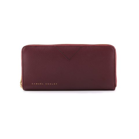 Samuel Ashley Lia Zip Around Wallet Maroon
