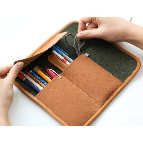 Indigo Rolled Felt Pencil Case Khaki