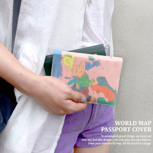 Indigo World Map Passport Cover