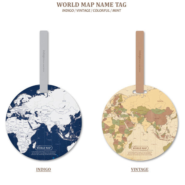 Indigo World Map Name Tag