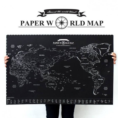 Indigo Paper World Map Black